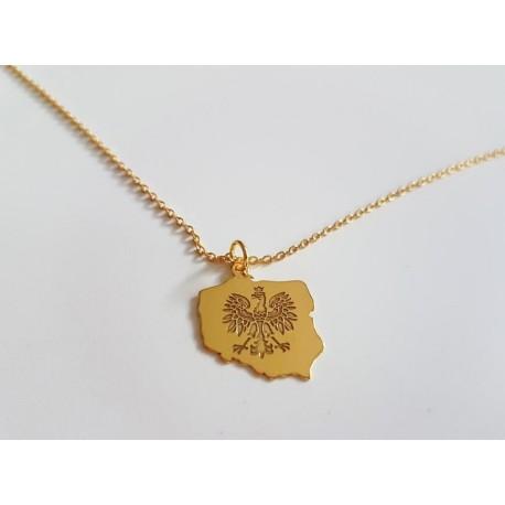 Złota zawieszka Orzeł POLSKA + łańcuszek