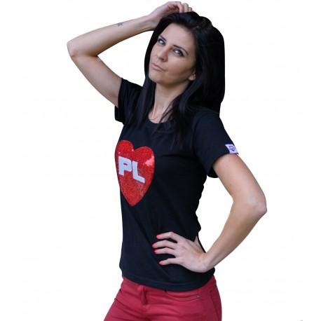 Koszulka SERCE PL - cekiny CZARNA