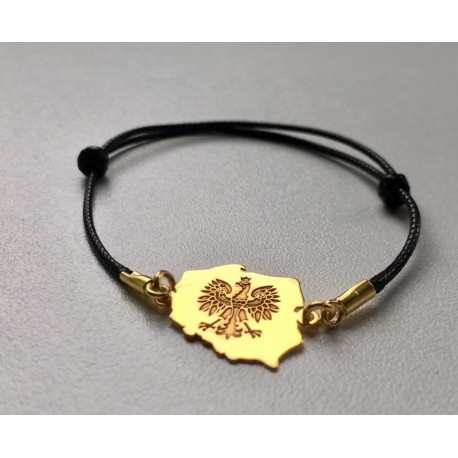 Bransoletka złoty Orzeł POLSKA czarny rzemyk