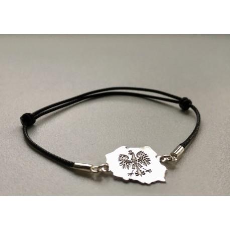 Bransoletka srebrny Orzeł POLSKA czarny rzemyk