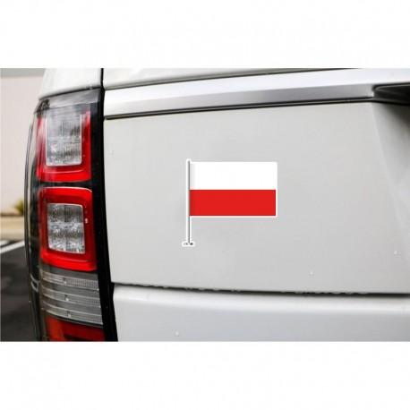 Naklejka flaga POLSKI biało-czerwona na samochód