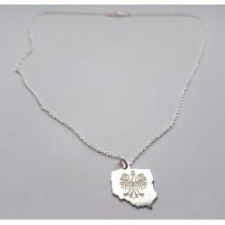 Srebrny łańcuszek Orzeł POLSKA damski