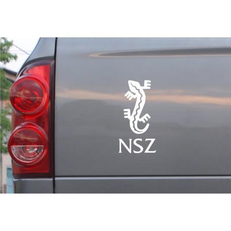 Naklejka samochodowa ZWIĄZEK JASZCZURZY NSZ (biała, czarna)
